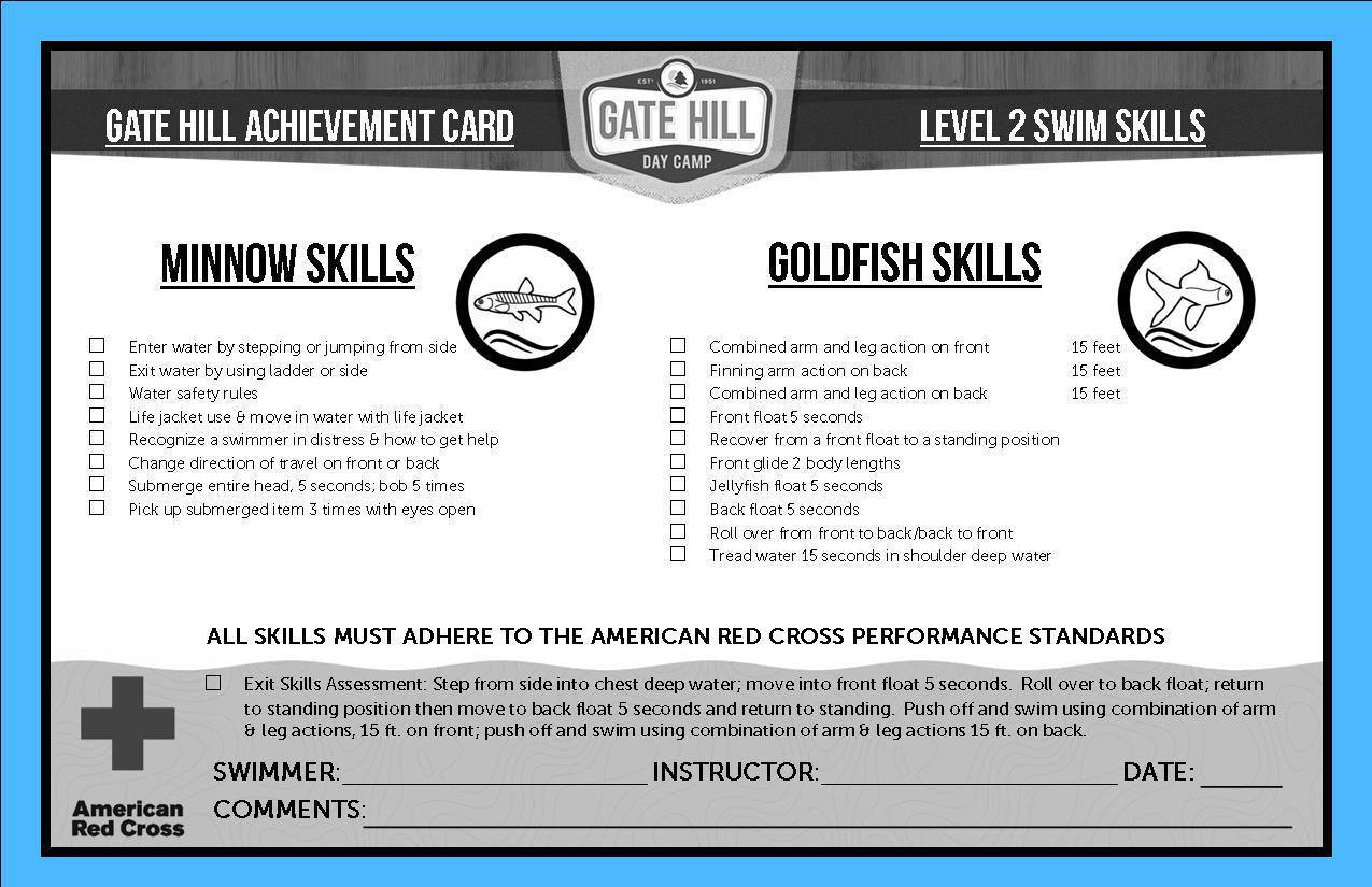 track your child u0026 39 s swim progression at gate hill day camp